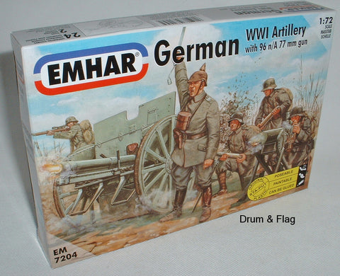 EMHAR 7204 WWI GERMAN ARTILLERY WITH 76mm GUN. 1:72 SCALE FIGURES