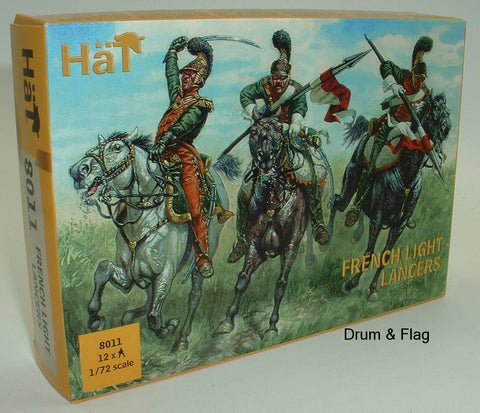 HAT 8011 NAPOLEONIC FRENCH LIGHT LANCERS 1/72 SCALE. 12 UNPAINTED PLASTIC FIGS