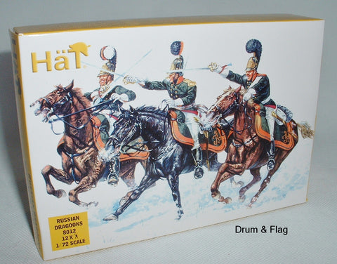 HAT 8012: NAPOLEONIC RUSSIAN DRAGOONS. 1/72 SCALE. 12 UNPAINTED PLASTIC FIGURES