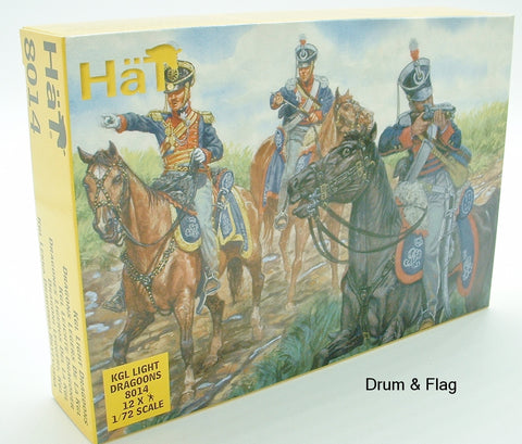 HAT 8014. KGL LIGHT DRAGOONS. NAPOLEONIC WARS. KING'S GERMAN LEGION. 1:72 SCALE