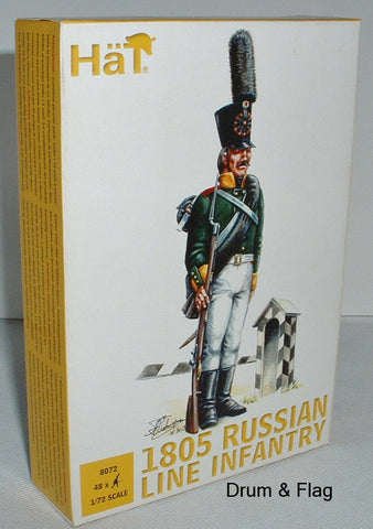 HAT 8072 NAPOLEONIC 1805 RUSSIAN LINE INFANTRY 1/72 SCALE. UNPAINTED PLASTIC