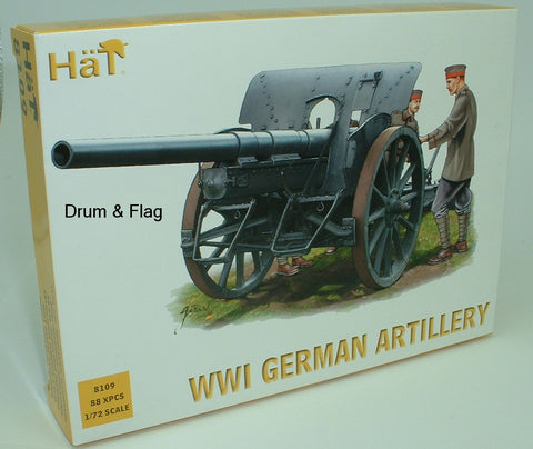 HAT 8109 WWI GERMAN ARTILLERY. 1/72 SCALE PLASTIC. 48 CREW. 4 GUNS. 4 LIMBERS.