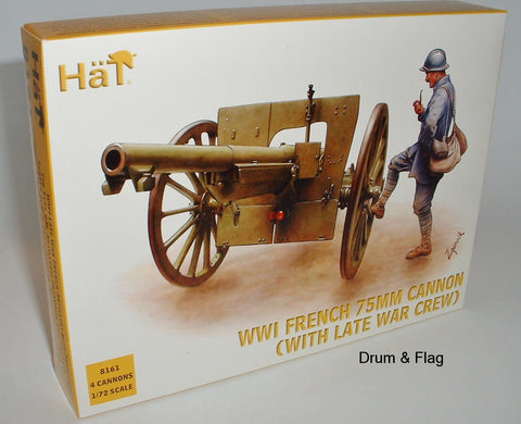 HAT 8161 -  WW1 FRENCH 75mm CANNON & LATE WAR CREW 1:72 SCALE UNPAINTED FIGURES.