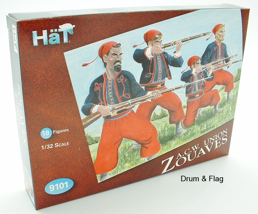 HAT 9101. ACW UNION ZOUAVES. 1/32 SCALE PLASTIC FIGURES. 54MM