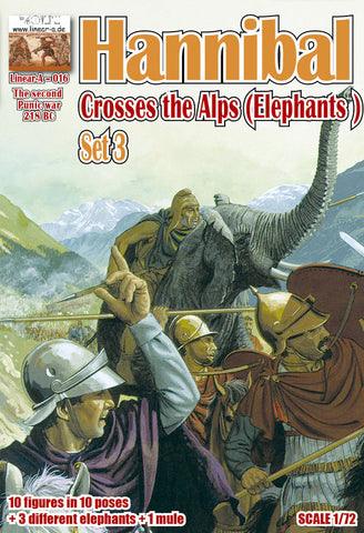 Linear-A 016 Hannibal Crosses the Alps Set 3. Elephants. 2nd Punic War. Carthaginians. 1/72 scale.