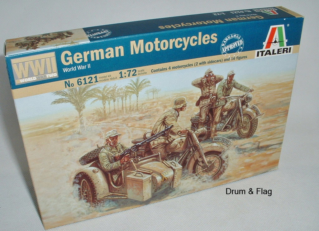 ITALERI 6121. GERMAN MOTORCYCLES. 1:72 SCALE PLASTIC FIGURES