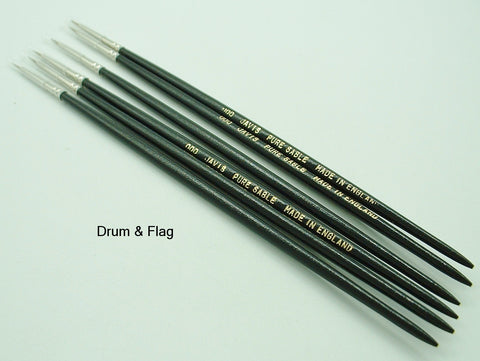 JAVIS HIGH QUALITY SABLE PAINT BRUSHES 6 x Size 3/0. BRUSH SIX PACK SIZE 000