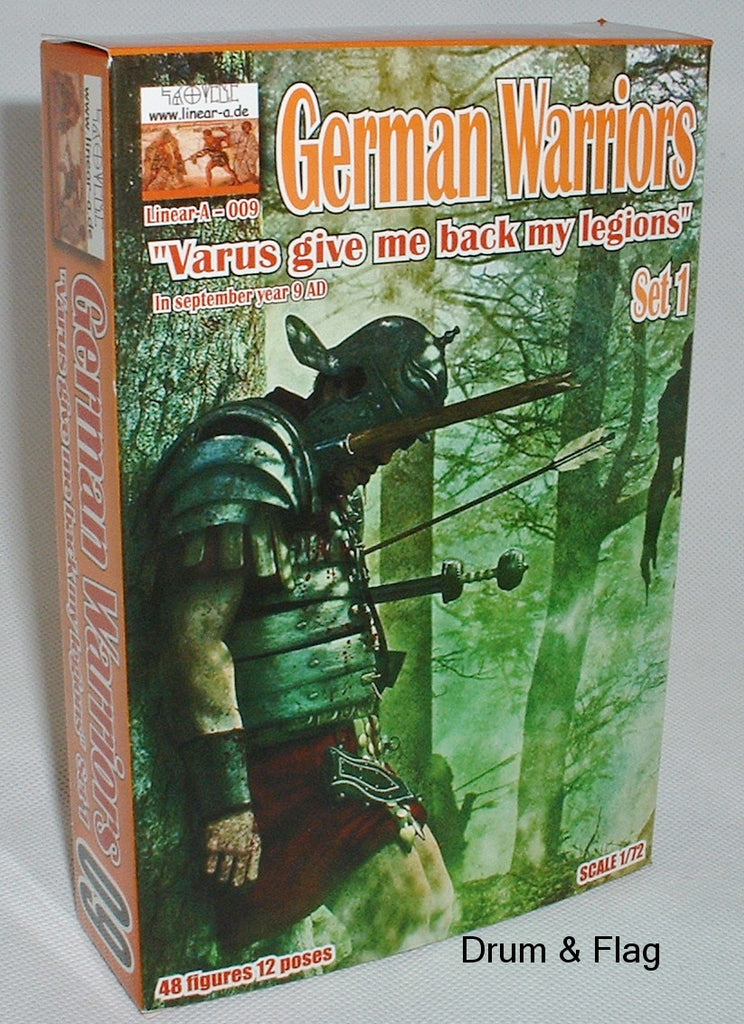 "Linear-A 009 Ancient German Warriors Set 1. ""Varus Give me back my Legions"" 1/72 scale."