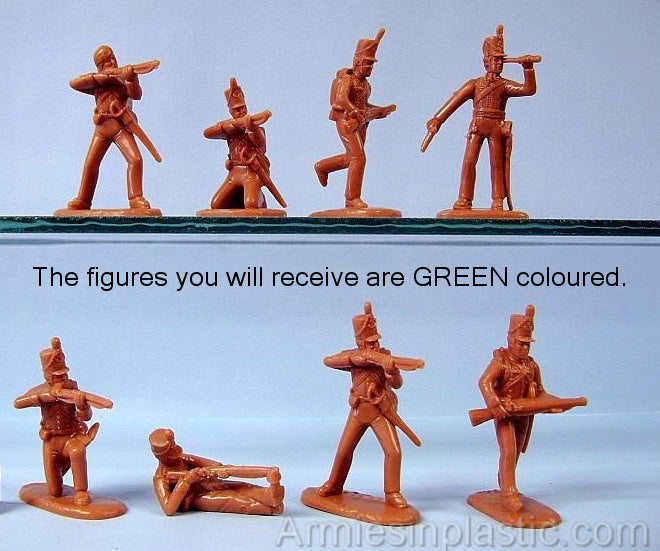 ARMIES IN PLASTIC #5503 - BRITISH 95th RIFLES - NAPOLEONIC WARS - 1/32 SCALE. Green plastic.