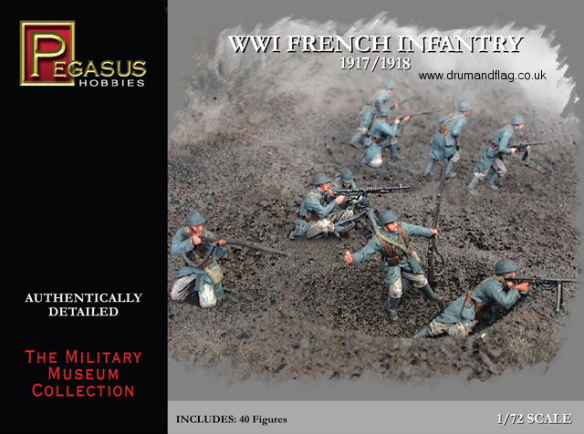 PEGASUS 7199. FRENCH INFANTRY WW1. 40 PLASTIC 1/72 SCALE FIGURES. WWI.