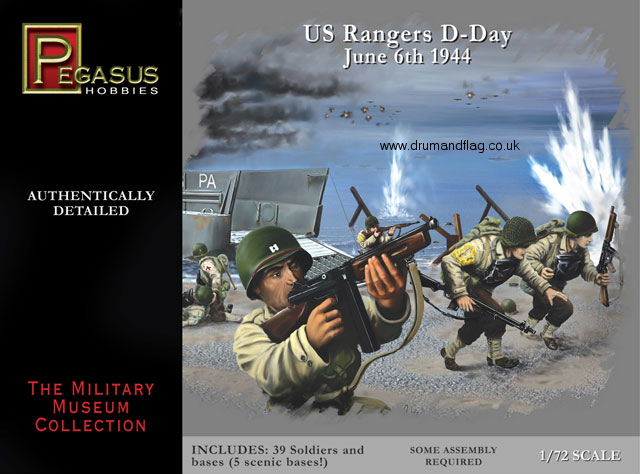 PEGASUS 7351. US RANGERS D-DAY. 39 PLASTIC 1/72 SCALE FIGURES.
