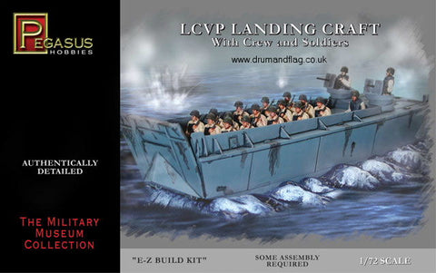 PEGASUS 7650 US LCVP LANDING CRAFT WITH CREW & SOLDIERS. 1/72 SCALE