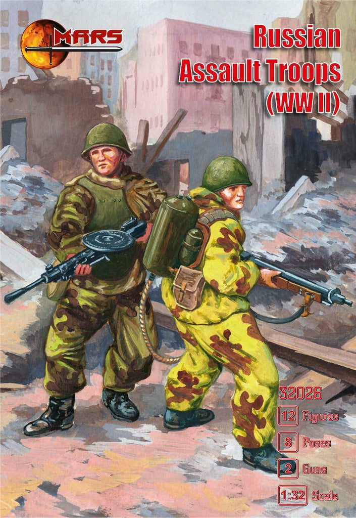 Mars 32026. Russian Assault Troops WWII. Plastic 1/32 Scale Figures.
