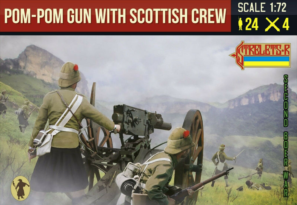 Strelets 189 Boer War Pom-Pom Gun with Scottish Crew. 1/72 Scale Plastic Figures