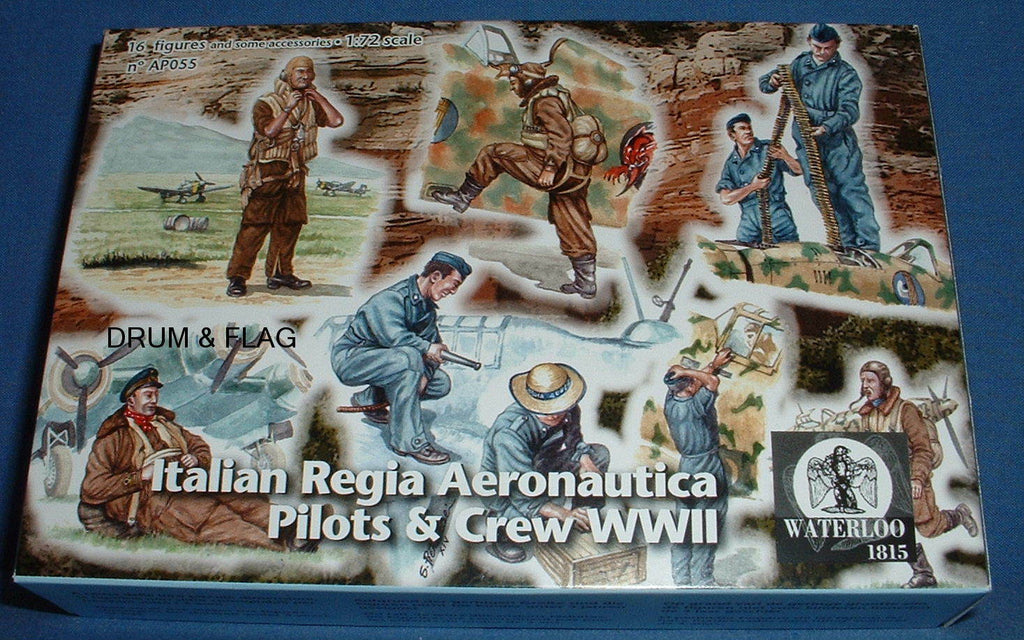 WATERLOO 1815 AP055 - WW2 ITALIAN AIRFORCE - REGIA AERONAUTICA - PILOTS & CREW  16 x 1/72 FIGS