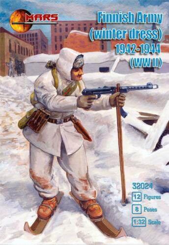 Mars 32024. Finnish Infantry in Winter Uniforms. WWII. Plastic 1/32 Scale Figures.