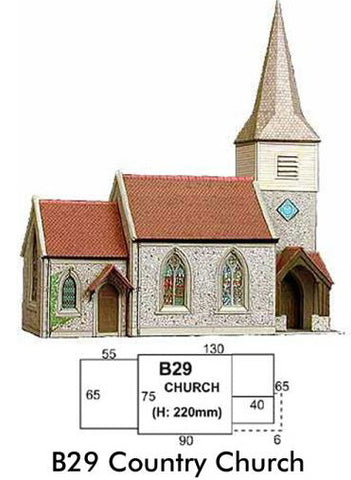 Superquick Country Church. 00 & H0 Gauge. Printed card.