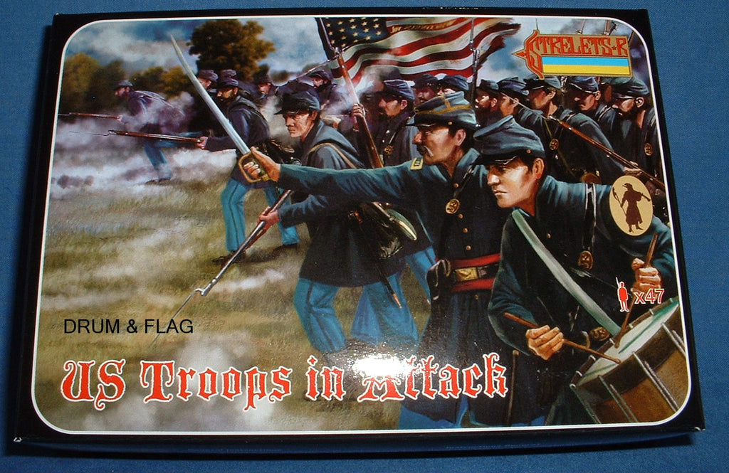 STRELETS Set 150 - US UNION INFANTRY TROOPS IN ATTACK - ACW - 1/72 SCALE