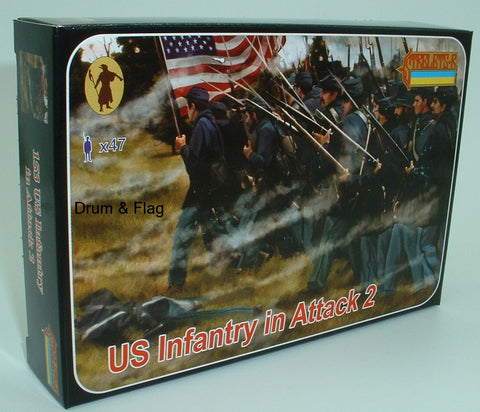 Strelets Set 153 - US Infantry in Attack 2 - Union - American Civil War. 1/72 scale