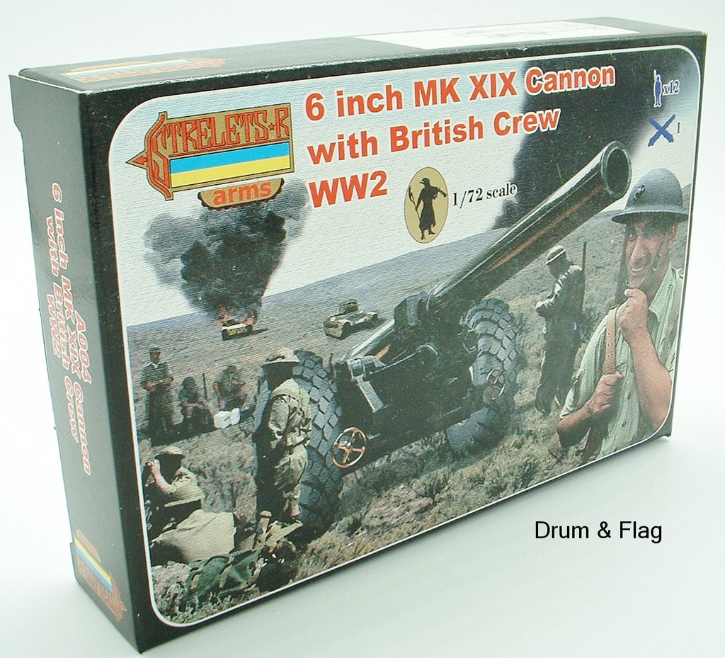 STRELETS A004 WW2 6 INCH BRITISH Mk XIX Cannon with British Crew. 1/72 SCALE