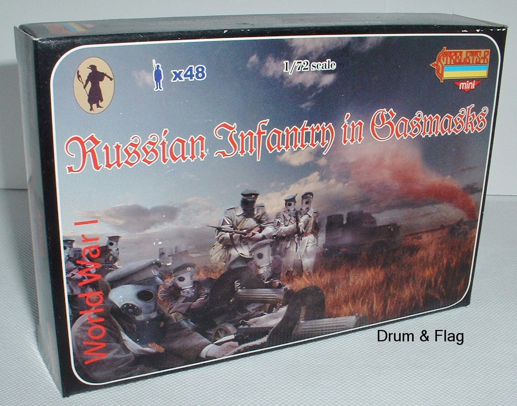 STRELETS SET M 58 - WW1 RUSSIAN INFANTRY IN GASMASKS - 1/72 SCALE PLASTIC