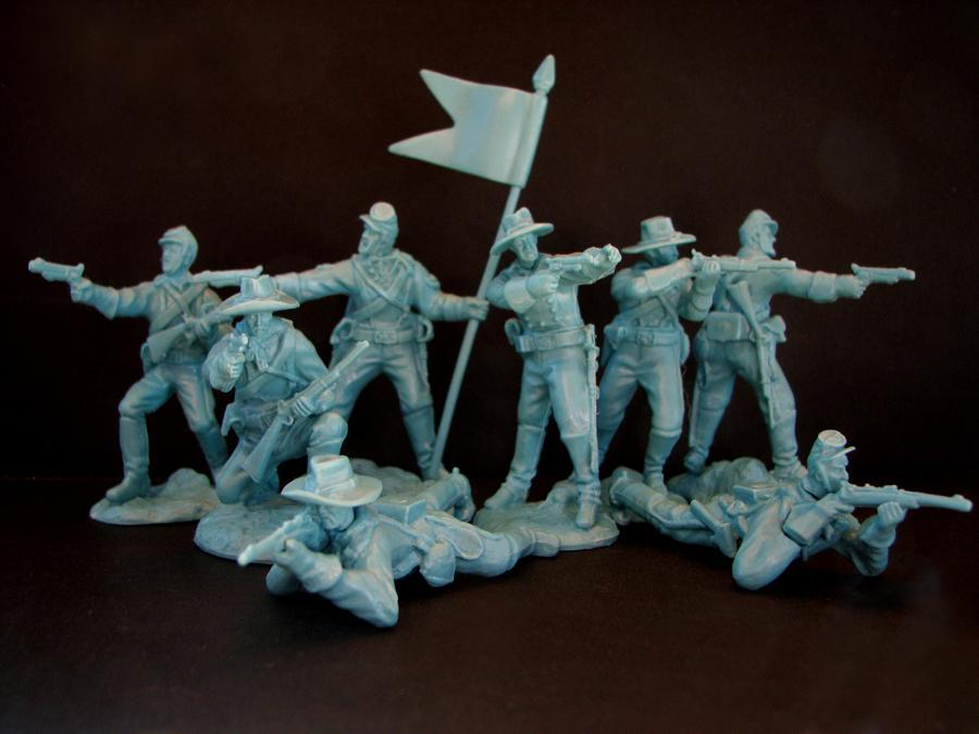 PARAGON - Dismounted U.S. Cavalry Set #2. Light Blue. c60mm Unpainted Plastic. PS04LB
