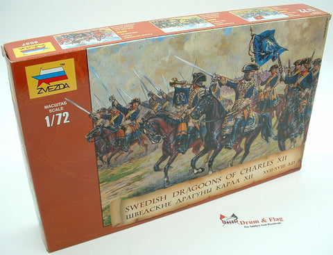 ZVEZDA 8057: SWEDISH DRAGOONS 17th-18th Century. 1/72 Scale