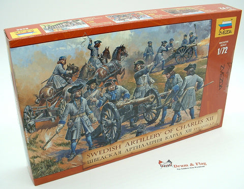 ZVEZDA 8066: SWEDISH ARTILLERY OF CHARLES XII. 1:72. GREAT NORTHERN WAR SWEDES.