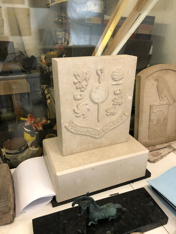 Hand carved Portland Limestone Club  Crest and pedestal / base