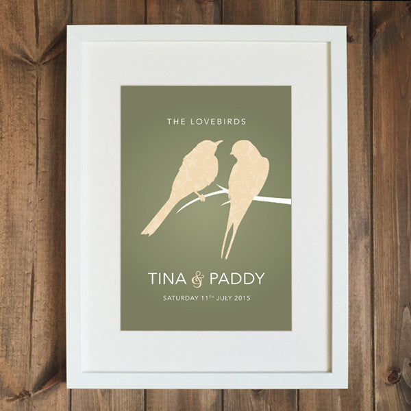 "Personalised Lovebirds 8"" x 12"" Print Wedding/Anniversary/Engagement"