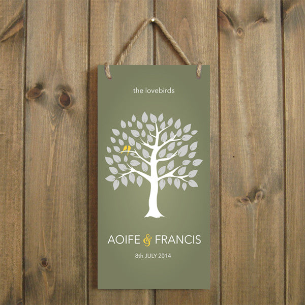 "Personalised Lovebirds Tree 6"" x 12"" Plaque Wedding/Anniversary/Engagement"