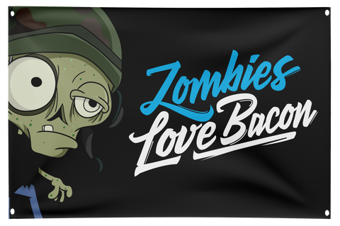 Zombies Love Bacon Fan Flag