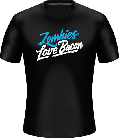 Zombies Loves Bacon Black Basic Jersey - Middle Logo