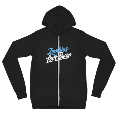 Zombie Loves Bacon Unisex Zip Hoodie - Middle Logo