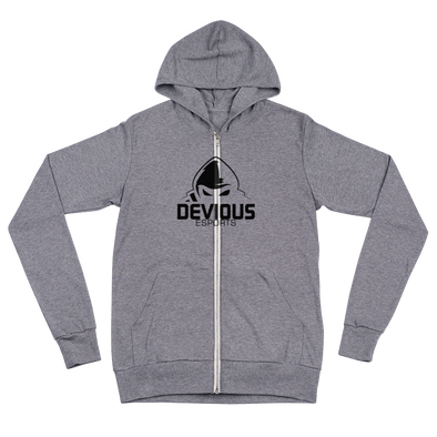 Devious eSports Grey Unisex Zip Hoodie -  Middle Logo