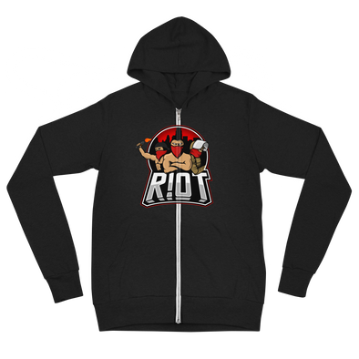 R!OT Gaming Unisex Zip Hoodie Middle Logo - Black