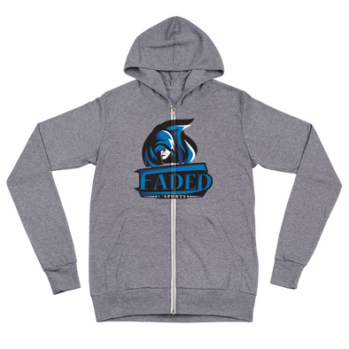 Faded Esports Gray Unisex Zip Hoodie - Middle Logo