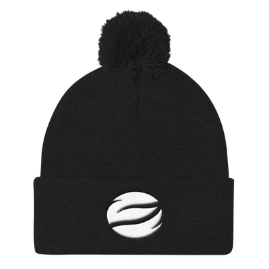 ESGO Black Embroidered Pom Pom Knit Beanie