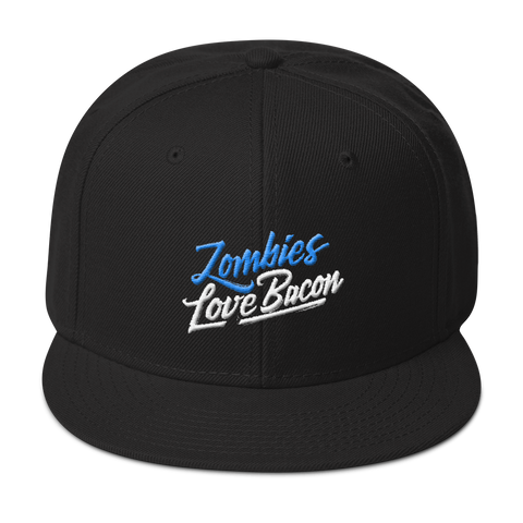Zombies Love Bacon Black Snapback Hat