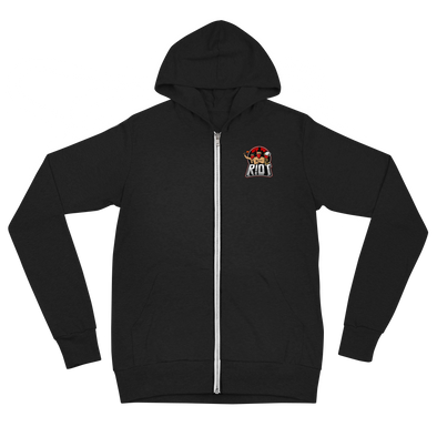 R!OT Gaming Unisex Zip Hoodie Pocket Logo - Black
