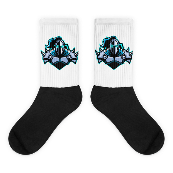 Raging Knights White on Black Socks