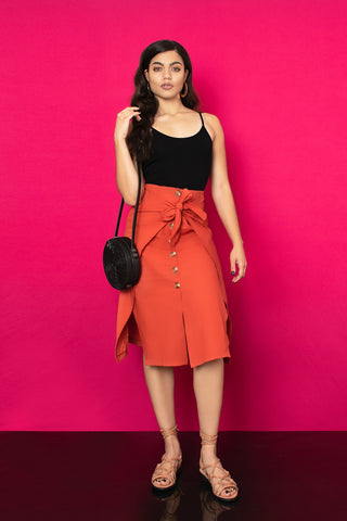 Sofia Wrap Skirt - Rust