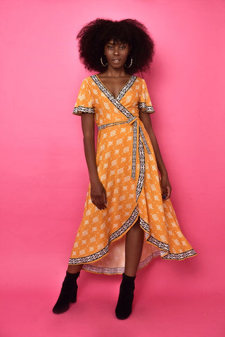 Lira Wrap Dress - Yellow