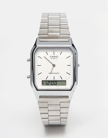 CASIO - VINTAGE STYLE STAINLESS STEEL WRIST WATCH (SILVER)