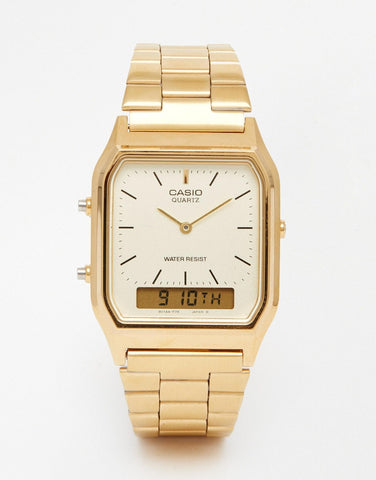 CASIO - VINTAGE STYLE STAINLESS STEEL WRIST WATCH (GOLD)