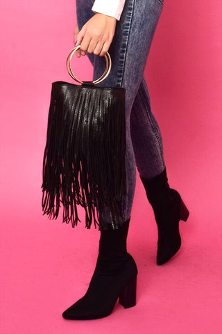 Cinnamon Tassel Bag - Black