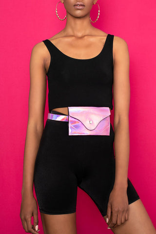 Kendall Holographic Belt Bag - Pink