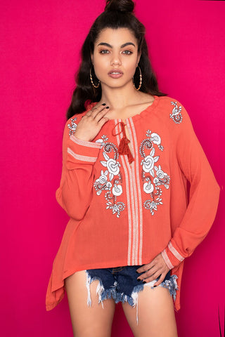 Nina Embroidered Top - Coral