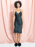 The Jade Midi Black, silk slip dress