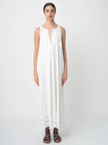 Leila Ligougne all over white daisy embroidery on white midi dress.